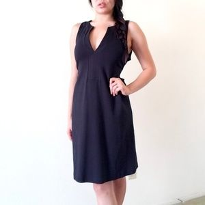 J. Crew Tie Back Plunging A-line Dress Black